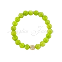 Diamond Ball with Green Lime Jade bracelet
