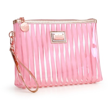 Fashion waterproof stripe pattern pvc makeup bag transparent cosmetic bag