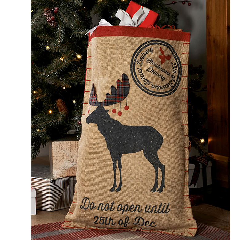 Custom Christmas treat bag linen christmas sack