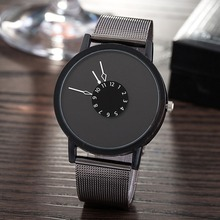 Creative design stylish wristwatch for couples lovers Milanese mesh strap Turnplate dial time display