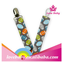 custome designs pacifier clip holder for new born babies with soccer printing safe fabric