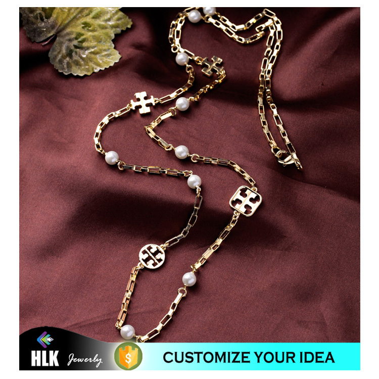 yin yang jewelry 18k solid gold chain overlength lady sweater chain