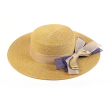 Fashion wholesale flat top cheap women straw boater hat with flower and bowknot