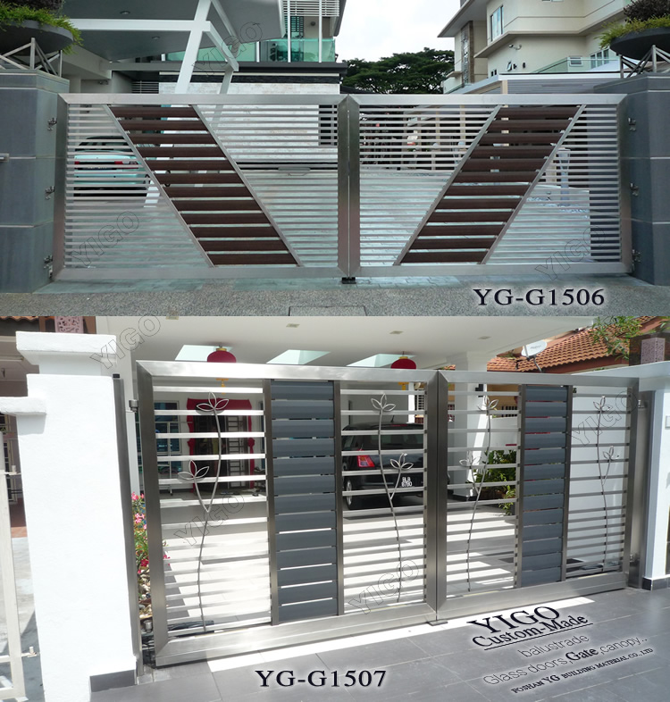 Modern stainless steel main gate design view modern steel for Main gate door design
