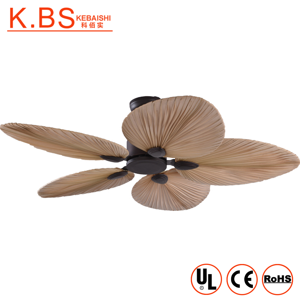 Wholesale Natural Style Fancy Decorative Palm Leaf Blade Ceiling <strong>Fan</strong> With Light