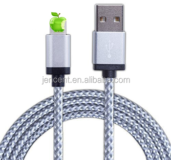 2017 hot selling high quality wholesale for iphone 7 metal braided nylon cable with ios10.3