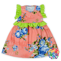 2016 Newest Designs Children Frocks Floral Printed Baby Dress New Model Girl Cotton Dress