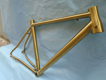 Golden color titanium cycle road frame on market