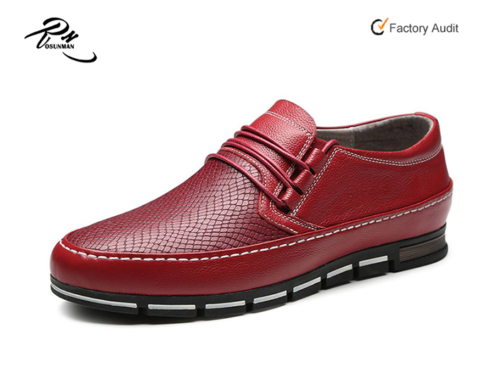 Red color latest new model men casual shoes wholesale fashion leather casual shoes