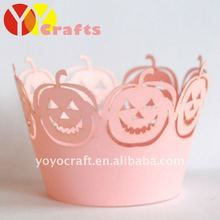 laser cut amazing pumpkin pink for wholesale and retail Halloween cupcake wrapper