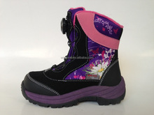 2016 Boa lace system Snow boot for Girls PU/Nylon with printing upper Polar Fleece lining
