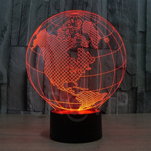YJM-2818 3D LED Lamp Earth Shape Globe Shape Art Sculpture Lights in Colors 3D Optical Illusion Lights