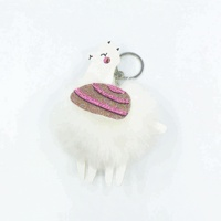 Hot Selling Cute Pompom Camel Keychain Lovely Faux Rabbit Fur Ball Animal Key Ring for Women Bag Car decoration