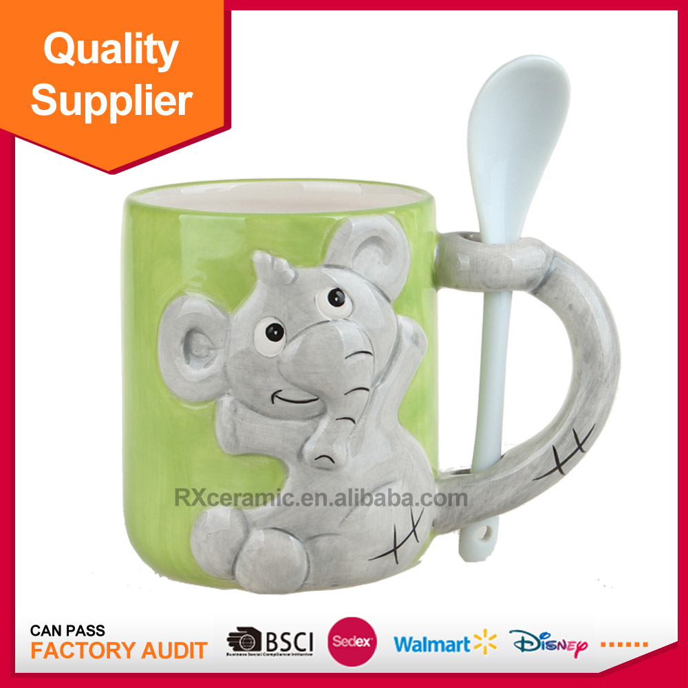 new products cheap customized porcelain elephant office cup