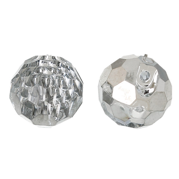Acrylic Shank Button Scrapbooking Ball Silvery white Single Hole 11.0mm Dia