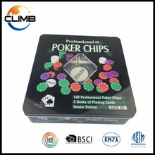 Advertising custom antique poker and chip set tin poker chips set deluxe poker chip game set