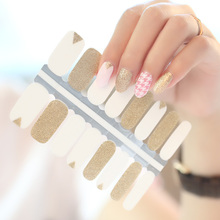 2019 New Hot Selling Nail Polish Stickers, 16pcs/strips Nail Wrap, Glitter Nail Art Supplier