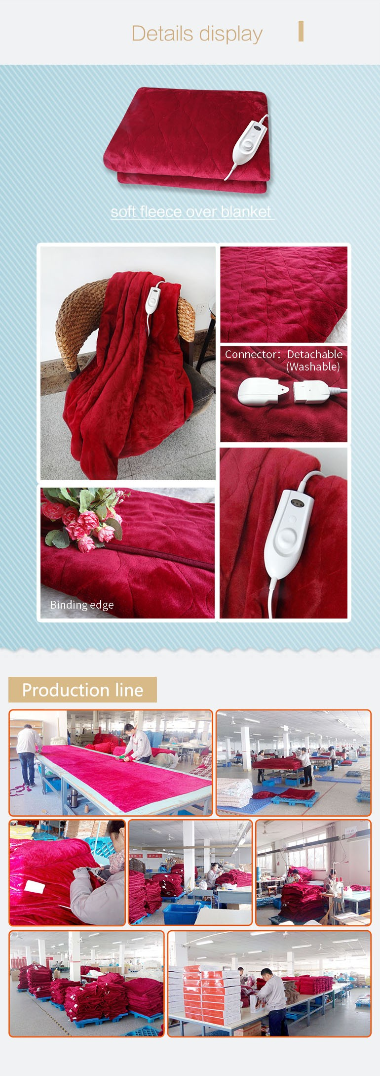 custom safety single electric blanket with ETL
