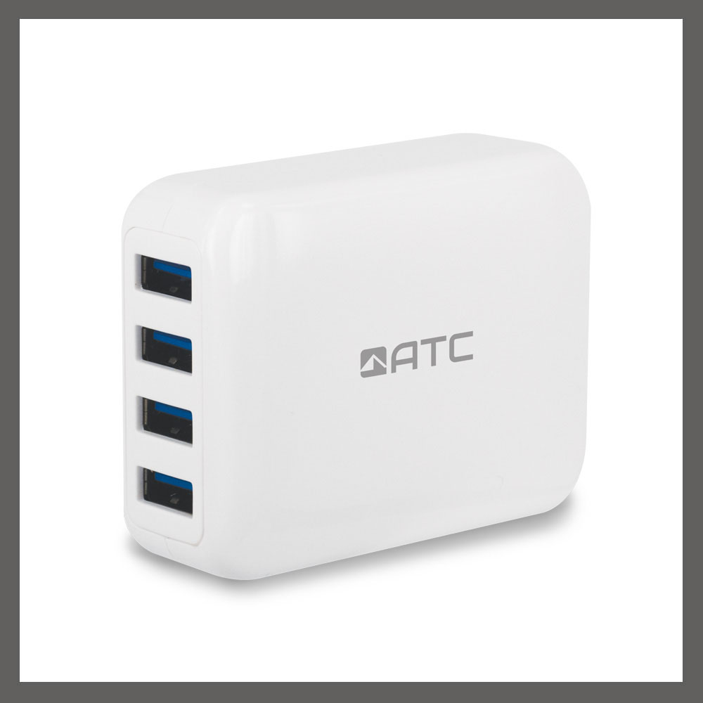 Classic Compact Designed 4 USB Ports 4.2A Output Travel Charger with Multiple Plug Versions