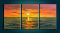 seascape sunrise scene 3 panel oil painting on canvas handmade