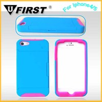 (Manager Introduce)Two in one protection phone case for apple iphone 4 with stand function and card slot