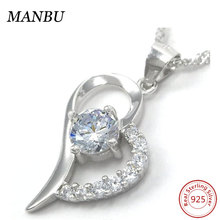 Women's 925 Sterling Silver Hollow Heart of the Ocean Simulated Diamond Pendant Necklace
