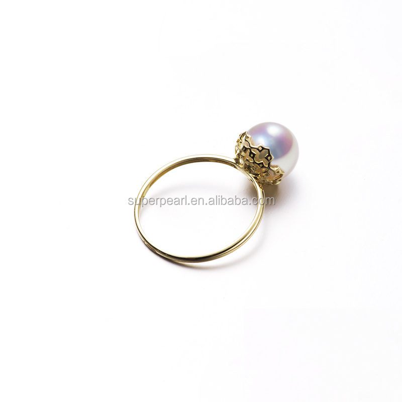 Akoya pearl ring <strong>18</strong> <strong>k</strong> <strong>gold</strong> in natural seawater geometry hollow out it up Pearl shining