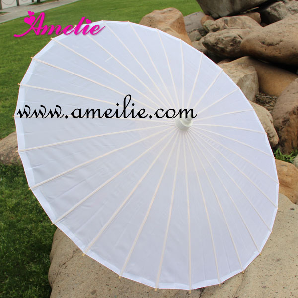 2019 Plain Solid Color  Pure White Color Bamboo Ribs Stock Market Chinese Silk Parasol
