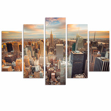 5 Panel New York City Canvas Print/Empire States Building Wall Art for Decoration/Contemporary Cityscape Canvas Artwork