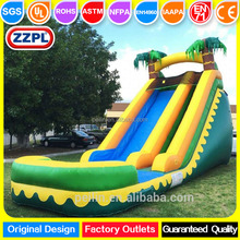 2017 ZZPL tropical big PVC party inflatable bouncy water slides for sale
