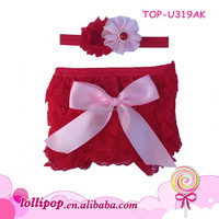Hot pink lace baby bloomers and headband set ruffled diaper cover baby bloomers with headband