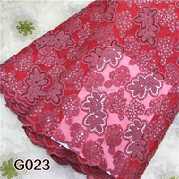 Bright red color lace applique embroidery designs delicate sequins chemical lace fabricG023