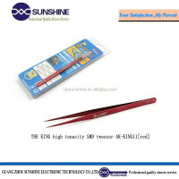 THE KING brand high tenacity anti-magnetic SMD red mini tweezer for repairing