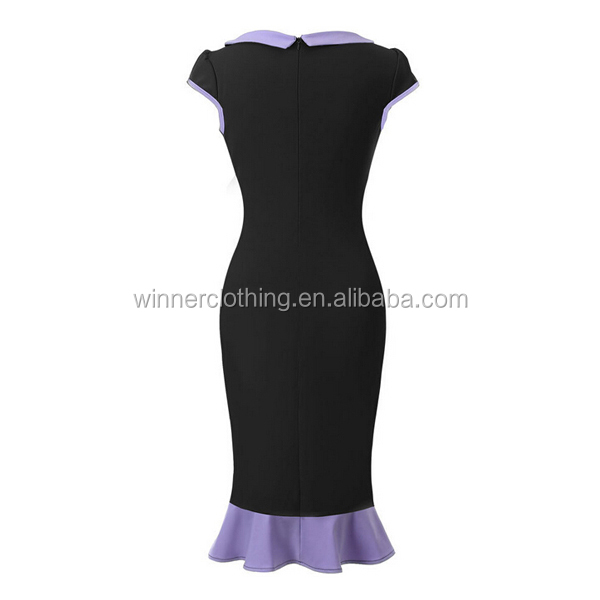 Round collar slim fit elegant stylish hot sexy Trumpet / Mermaid bottom Skinny cocktail party dress with cap sleeve