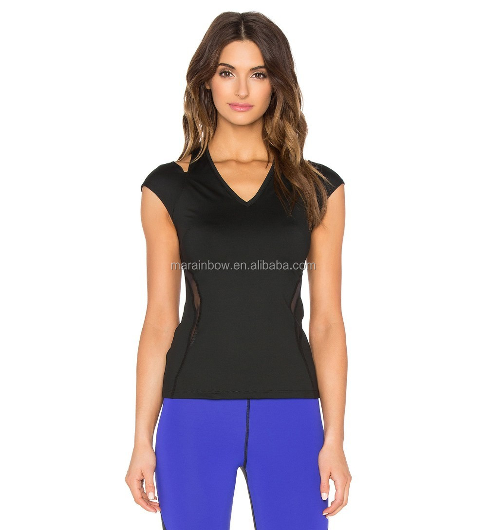modern stylish slim fit sexy design women's yoga fitness performance dry fit gym t shirts with mesh lining panel wholesale