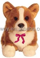imprinted promotional custom soft plush dog stuffed corgi dog embroidery log plush dog animal toys