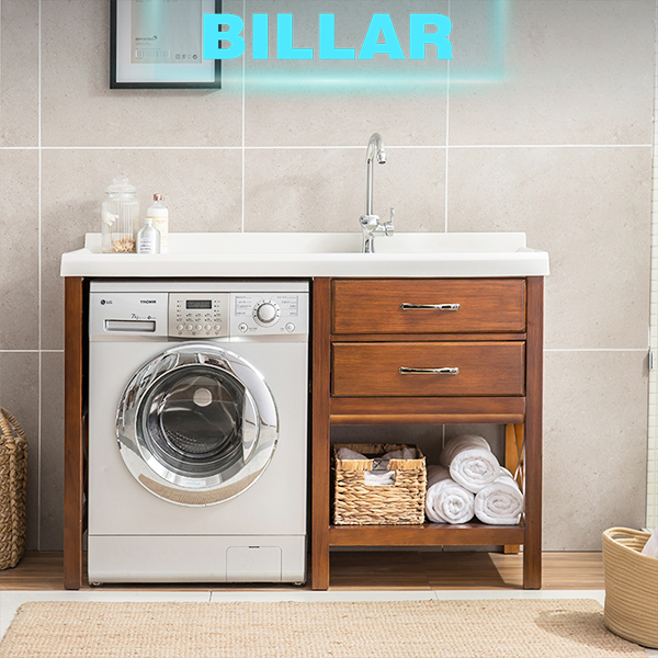 Apartment project small bathroom vanity washing machine cabinet