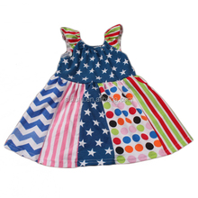 wholesale boutique July 4th flutter sleeve with matching cloth style dress for latest design baby frock