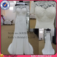 Most beautiful fashion style soluble lace short sleeves cheap wedding dresses made in china