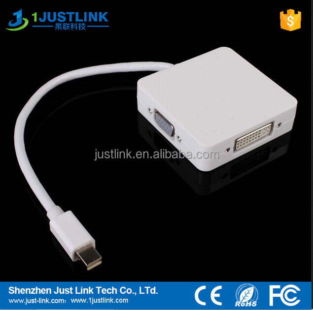 China factory price 3 in 1 mini DP male to HDMI+DVI+VGA female cable adapter support 1080P
