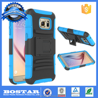 Multi color hybrid PC+Silicone kickstand mobile phone hard case back cover for Samsung galaxy S7