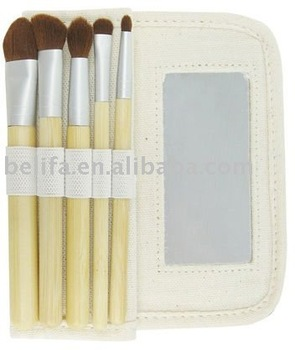 cosmetic brush set with canvas pouch