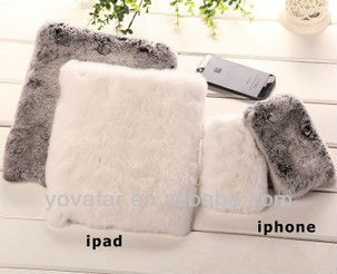 Manual Winter Warm Genuine Rabbit Cony Fur Hair Case Cover For iPad 2 3 4 air mini