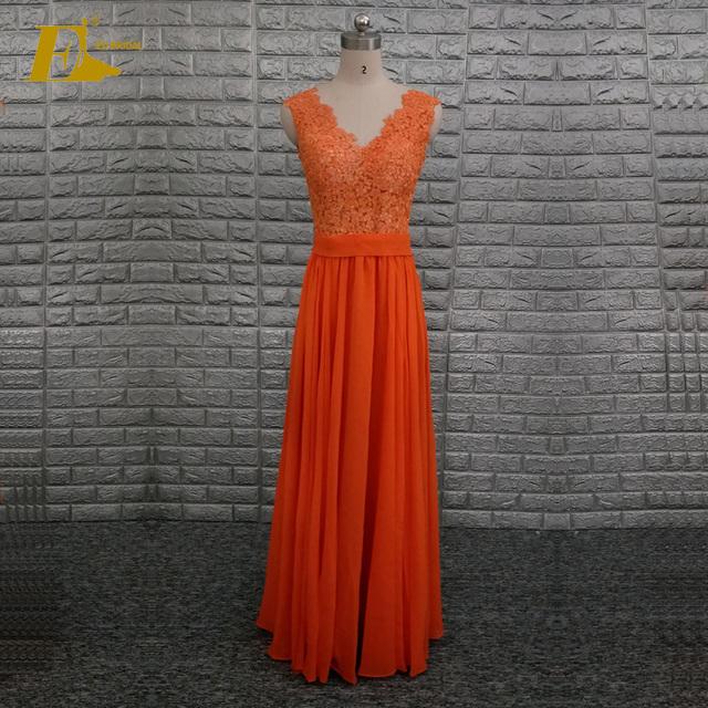 2017 Popular Orange Color A Line Lace Chiffon Long Bridesmaid Dress Online