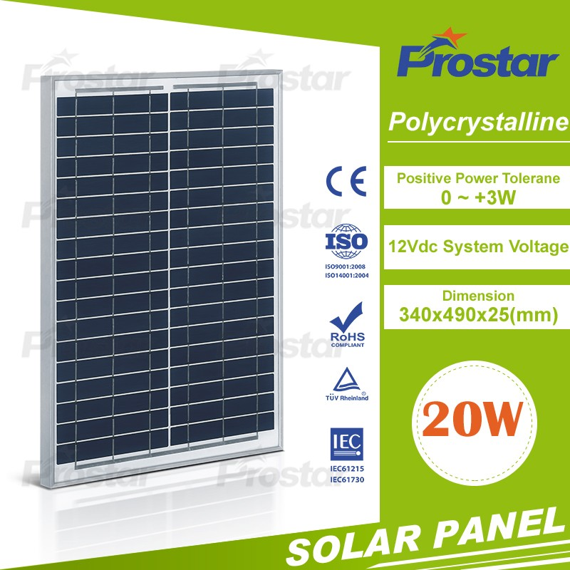 Prostar small size poly solar cell 20w solar panel price