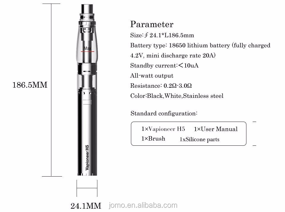 E hookah pen Vapioneer H5 portable mini hookah ,H5 glass hookah pipe free vape pen starter kit