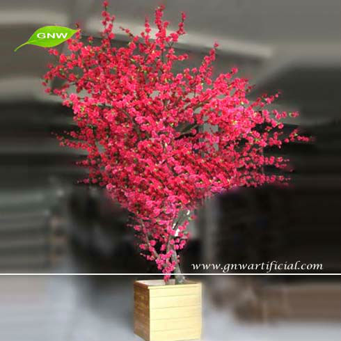 GNW BLS033 Low Price Red Artificial Bonsai Blossom Tree for garden decoration