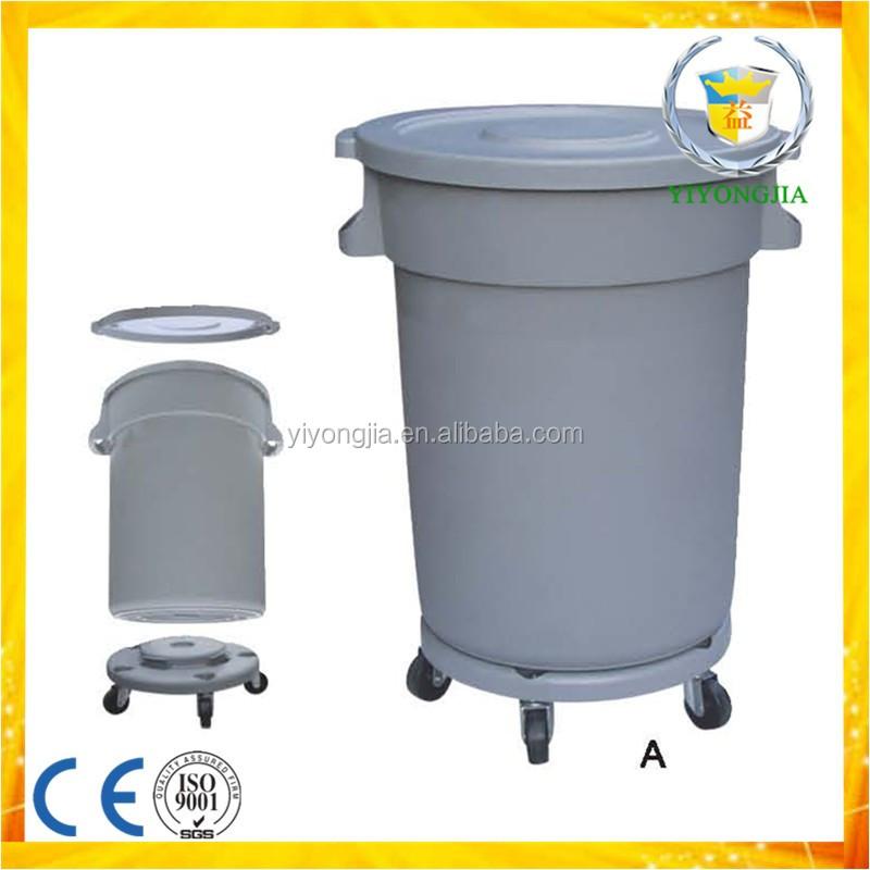Round Base With Wheels Plastic Waste Garbage Bin Waste