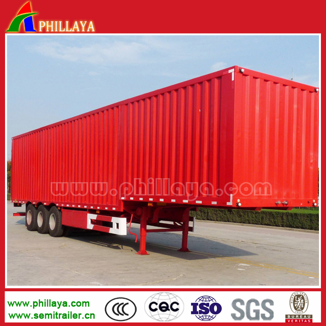 Low price 3 axles transport cargo new and used box semi trailer kits for sale