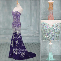 Real Sample Full beads crystal Sexy Long Evening Dress romantic angel party dress patterns prom gowns designs CYE-076